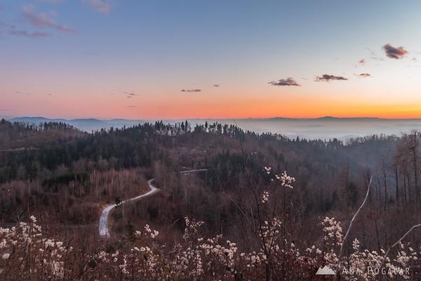 Descending from Špica after sunset