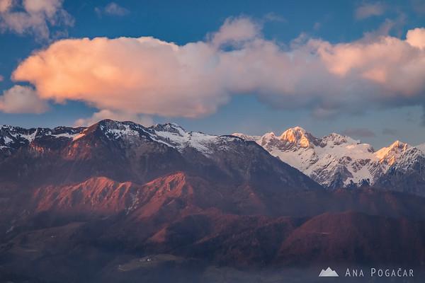 The Kamnik Alps from Špica: Kamniški vrh, and sunlit Mts. Skuta and Turska gora