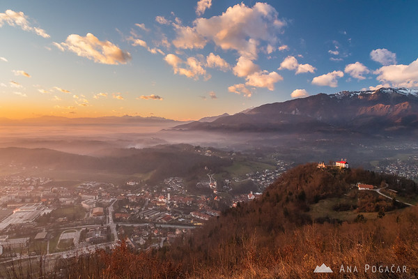 Stari grad and Kamnik from Špica hill
