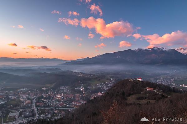 Kamnik from Špica after sunset