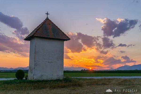 Sunset from fields near Kamnik