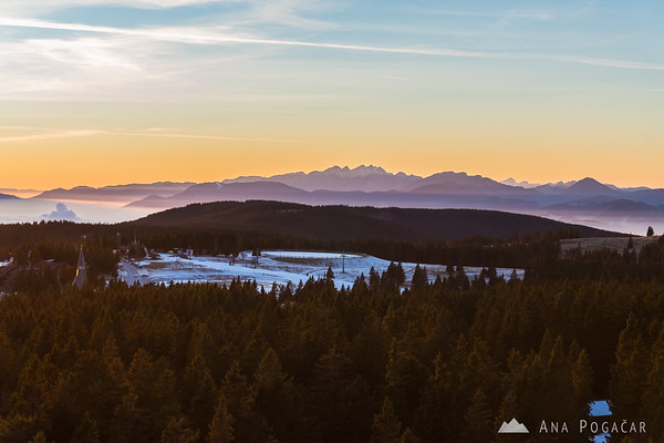 Views from the viewing tower on Rogla - the Kamnik Alps and Mt. Triglav in the distance