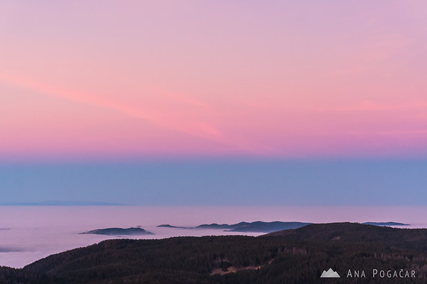 Views from the viewing tower on Rogla after sunset