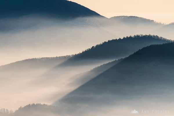Fog in the valley as seen from Rogla