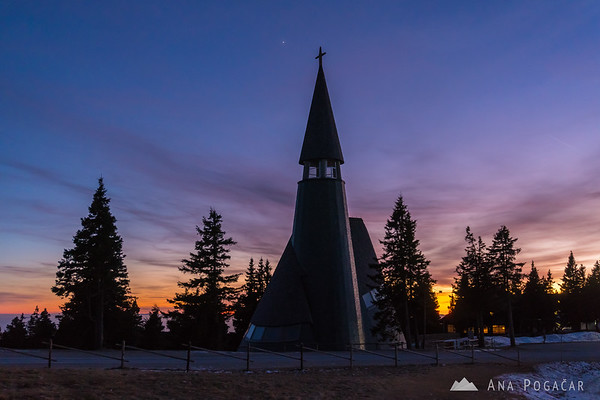 Chapel on Rogla at dusk