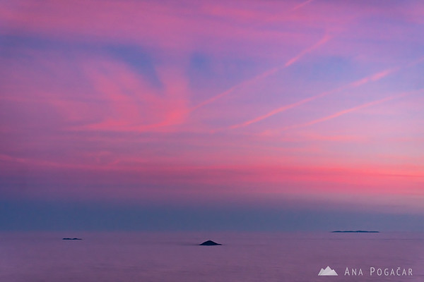 """Views from the viewing tower on Rogla after sunset - a solitary """"island"""" of Mt. Boč"""
