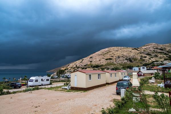 Ominous storm clouds at Škrila campground