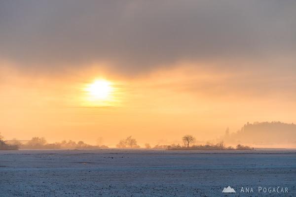 Fields near Kamnik on a misty winter afternoon