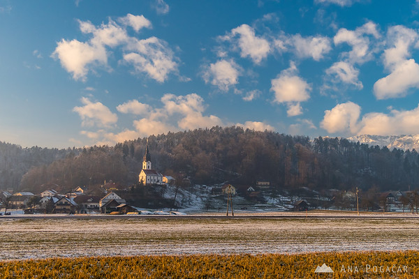 Church in Podgorje on a sunny winter afternoon