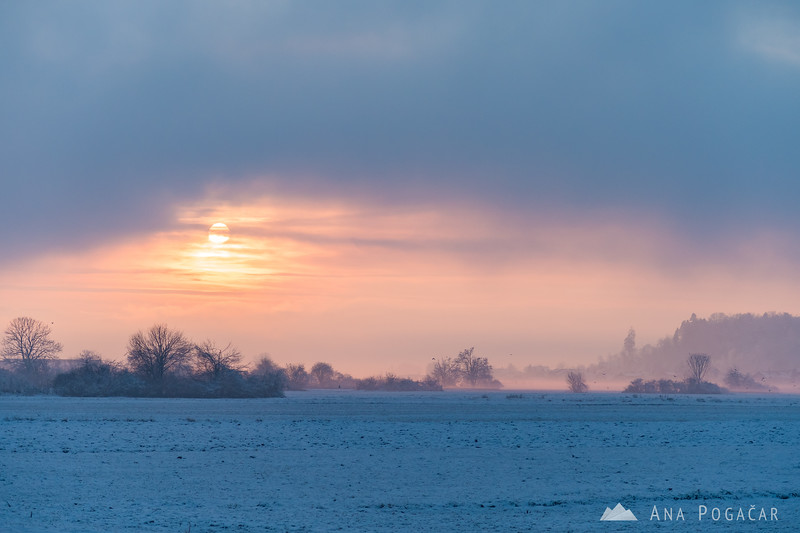 Misty sunset near Kamnik - Jan 14, 2017