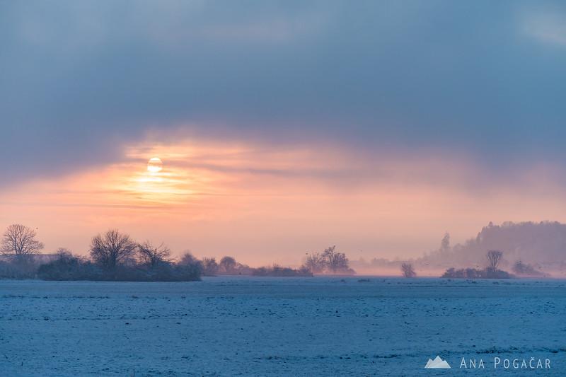 Misty sunset near Kamnik - Jan 14, 2017