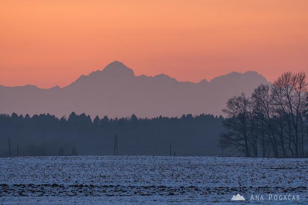 Julian Alps with Mt. Triglav after sunset