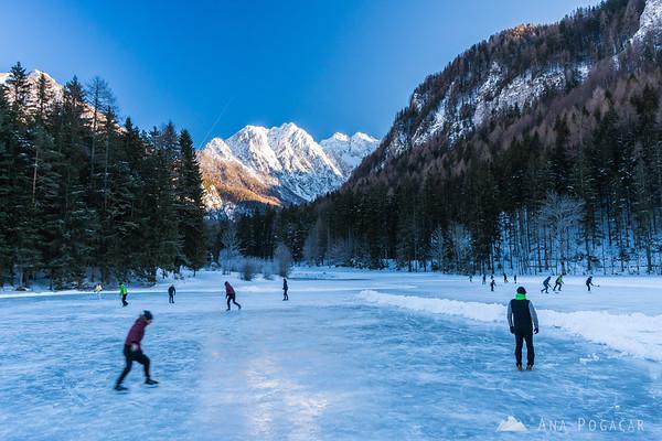 Frozen Planšar Lake in Jezersko