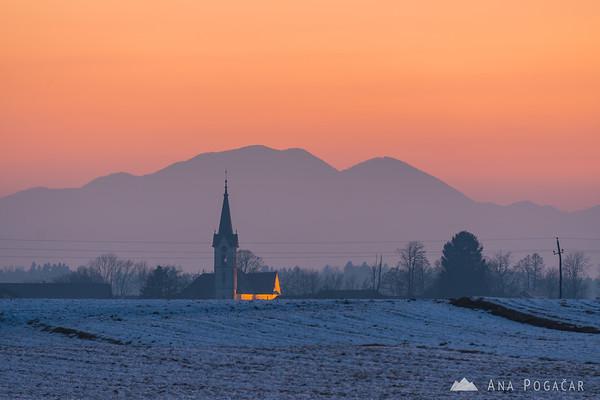 Church in Zgornji Brnik after sunset
