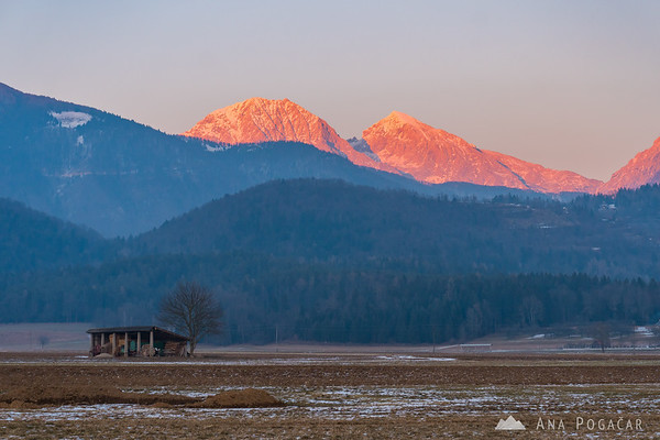 The fiery Kamnik Alps at sunset: Mts. Kočna and Grintovec