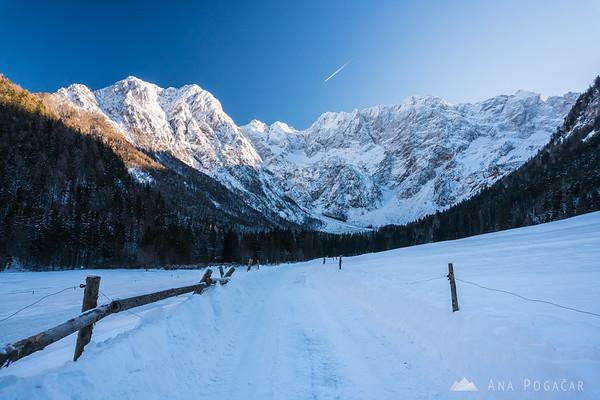 Jezersko valley with a beautiful backdrop of the Kamnik Alps