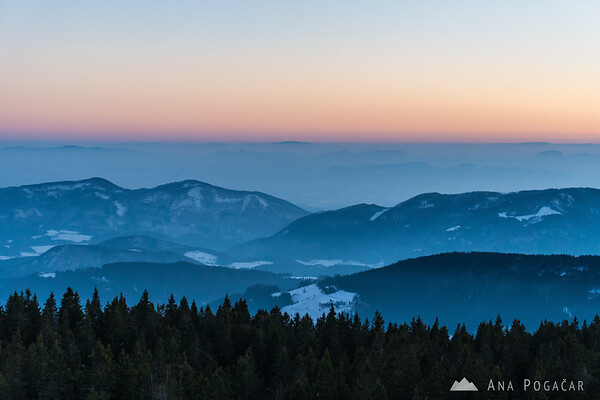 Views from the viewing tower at the top of Rogla after sunset