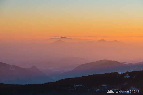 Views from the viewing tower at the top of Rogla at sunset