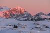 First sun rays hitting Mt. Brana
