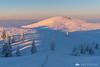 Winter sunrise on Velika planina