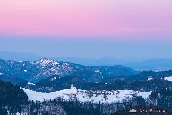 St. Andrew (Sv. Andrej) church from Goli vrh at sunset