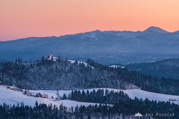 Vrh Svetih Treh Kraljev from Goli vrh at sunset
