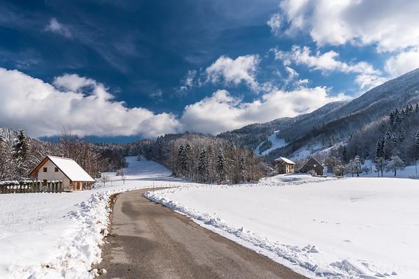 Village and ski resort of Javornik on a sunny winter day