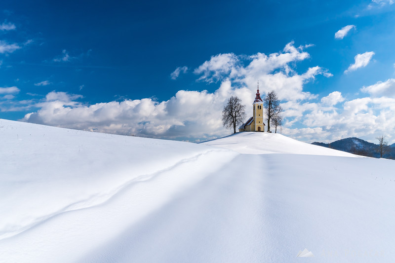 St. Thomas church in Vrsnik on a sunny winter day
