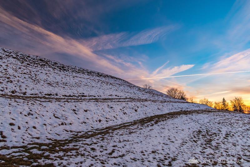 Colorful sunset sky above Kužna near Kamnik