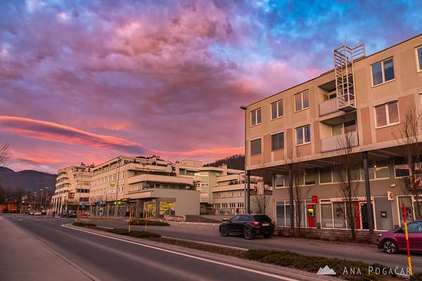 Colorful sunset in Kamnik