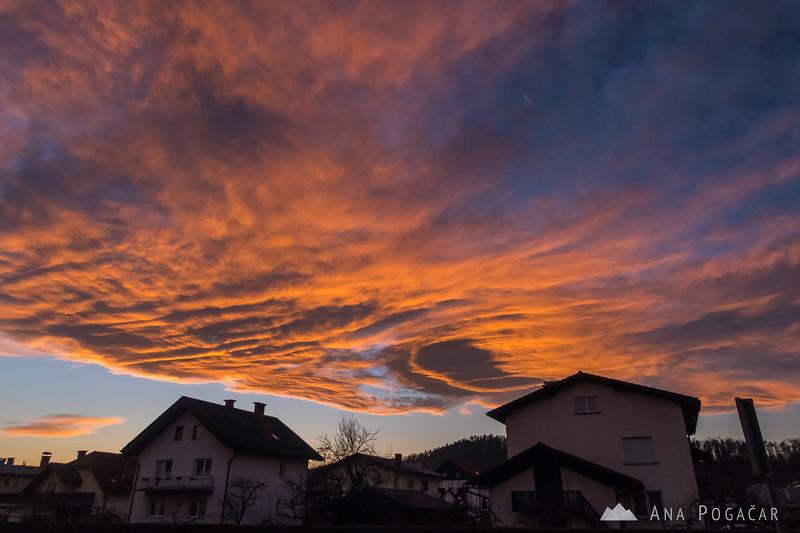 Colorful sunset in Kamnik - Feb 27, 2017