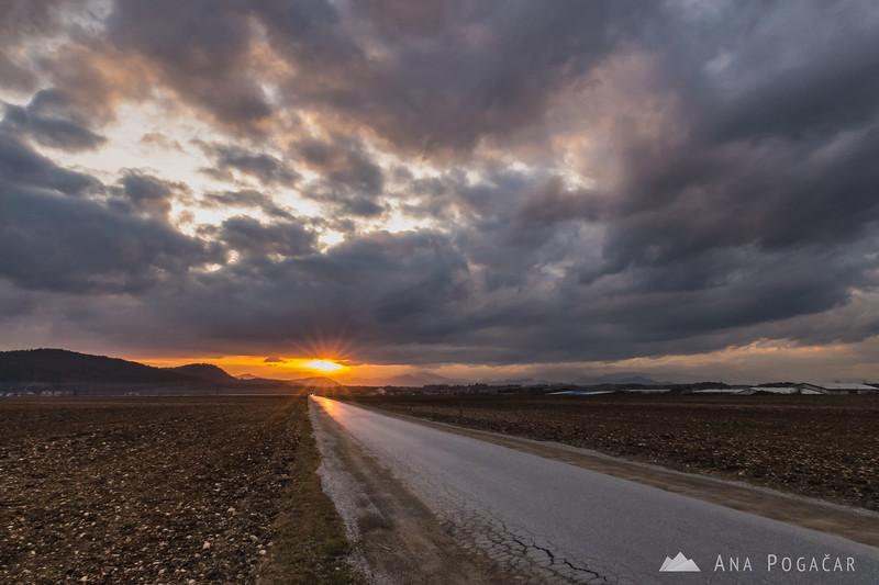 Sunset from fields near Mengeš - Mar 3, 2017
