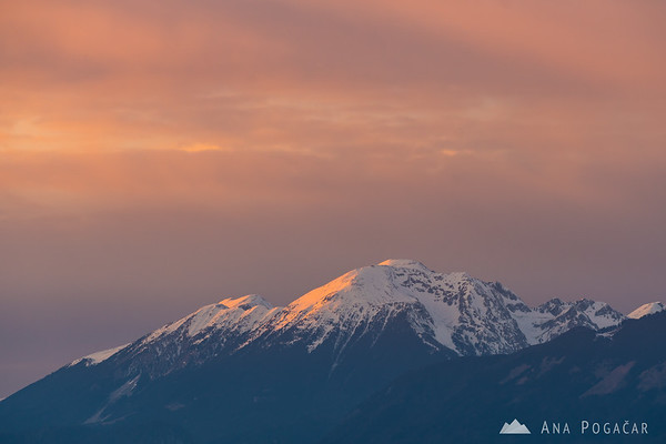 Mt. Stol in the Karavanke mountain range from Smlednik Castle at sunset