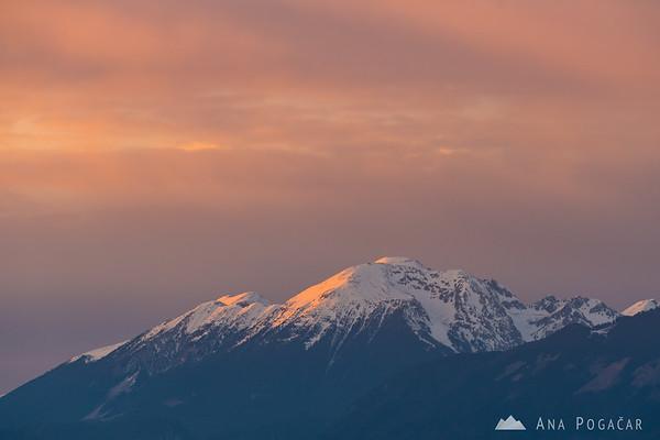 Mt. Stol in the Karavanke mountain range from Smlednik Castle at sunset