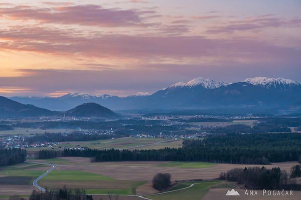 Karavanke mountain range from Smlednik castle after sunset