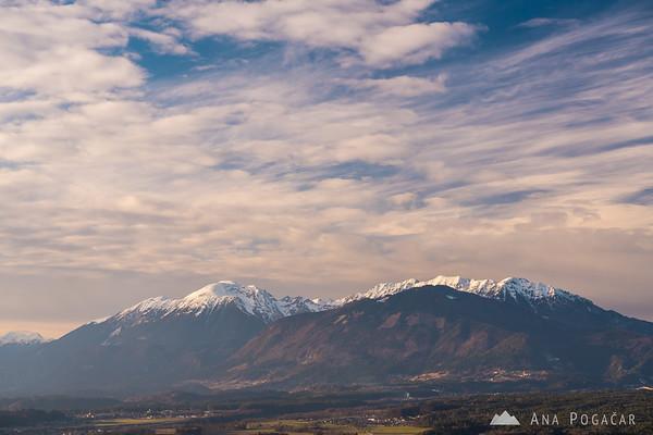 Karavanke mountain range from Šmarjetna gora
