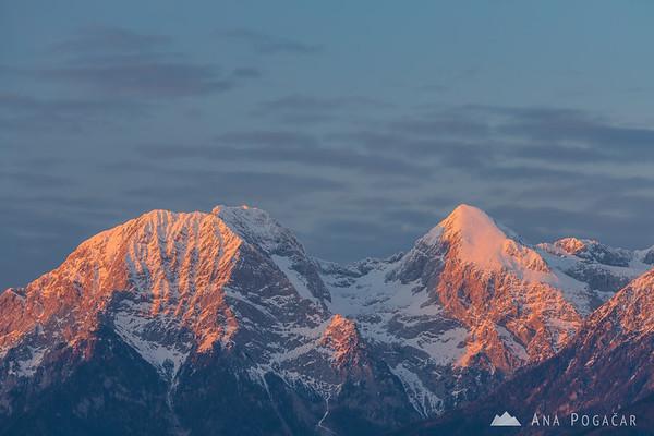 Kamnik Alps from Smlednik castle at sunset