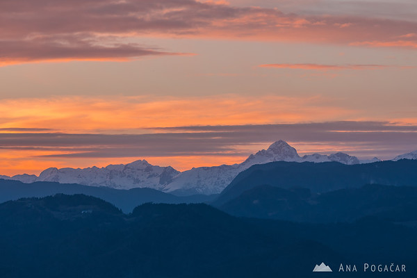 Julian Alps with Mt. Triglav and Kredarica from Smlednik castle at sunset