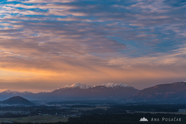 Karavanke mountain range from Smlednik Castle at sunset