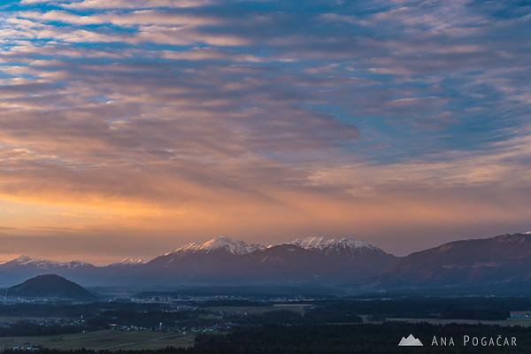 Karavanke mountain range from Smlednik Castle at sunset