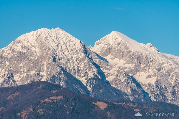 Kočna and Grintovec from Šmarjetna gora