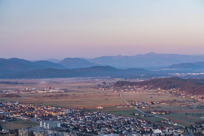 Views of Kamnik and Podgorje from Stari grad hill at sunrise