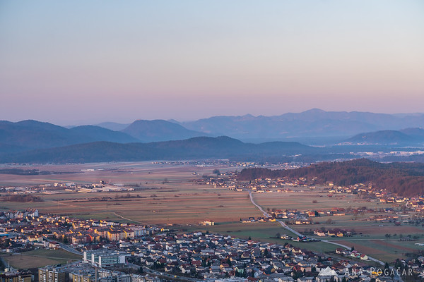 Views of Kamnik and Podgorje from Stari grad hill at sunrise