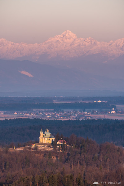 St. Ana church in Tunjice and Mt. Triglav in the background