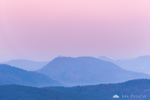 Šmarna gora and layers in the pink dawn light