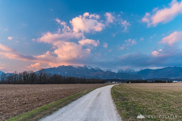 Colorful sunset clouds over the Kamnik Alps