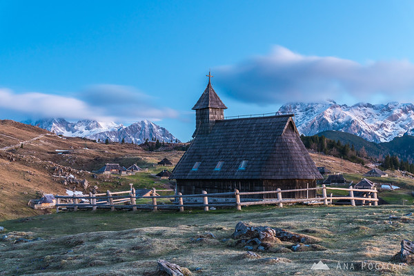 Chapel on Velika planina at dawn