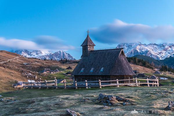 Chapel on Velika planina at dawn