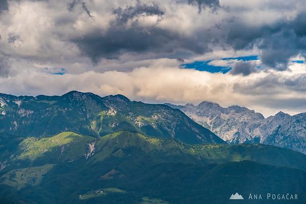Kamniški vrh and the Kamnik Alps from Špica
