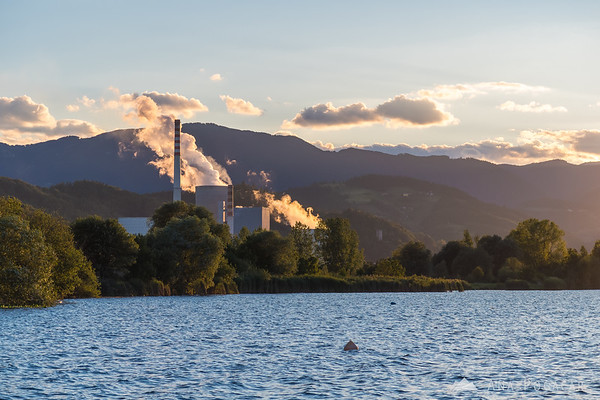 TEŠ power plant in the setting sun
